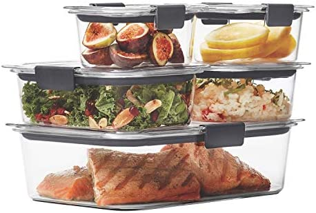 Rubbermaid Brilliance Leak-Proof Food Storage Containers with Airtight Lids, Set of five (10 Pieces Total) |BPA-Free & Stain Resistant