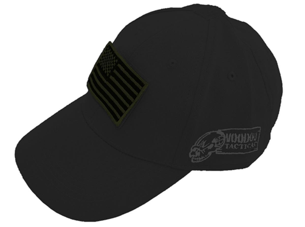 Voodoo Tactical 20-9351 Contractor Baseball Cap, Black w/ Flag