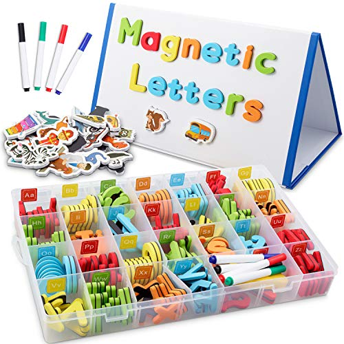 [해외]CHUCHIK ABC Magnetic Letters Set for Kids. Alphabet Lowercase and Uppercase Foam MagnetsWhite Board 4 Pens and Eraser. (5-Colors) / CHUCHIK ABC Magnetic Letters Set for Kids. Alphabet Lowercase and Uppercase Foam MagnetsWhite Board...