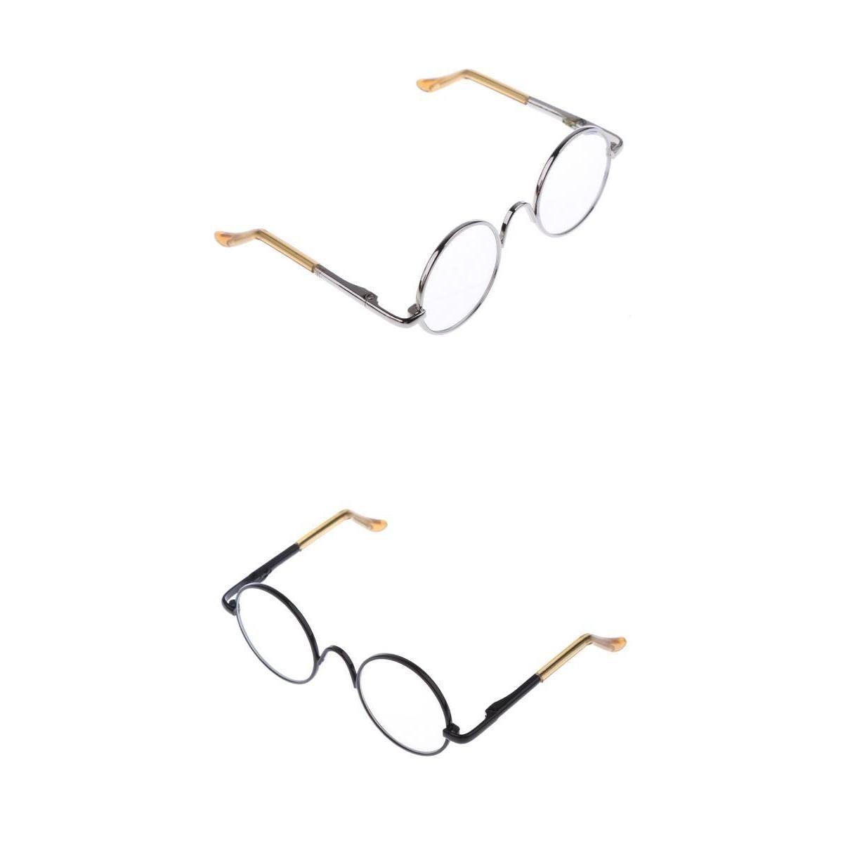 P Prettyia 2 Paar Miniatur Brillen Gl/äser mit runde Metallrahmen f/ür 12 Zoll Puppe Kost/üm Zubeh/ör Silber /& Schwarz
