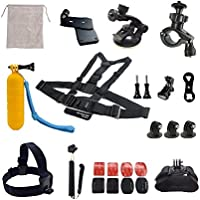 ADIKA 22 Pcs Starter for Gopro Accessories Kit Bundle Includes for Gopro Suction Cup Mount + for Gopro Selfie Stick + for Gopro Roll Bar Mount + for Gopro head strap mount + for Gopro Chest Mount