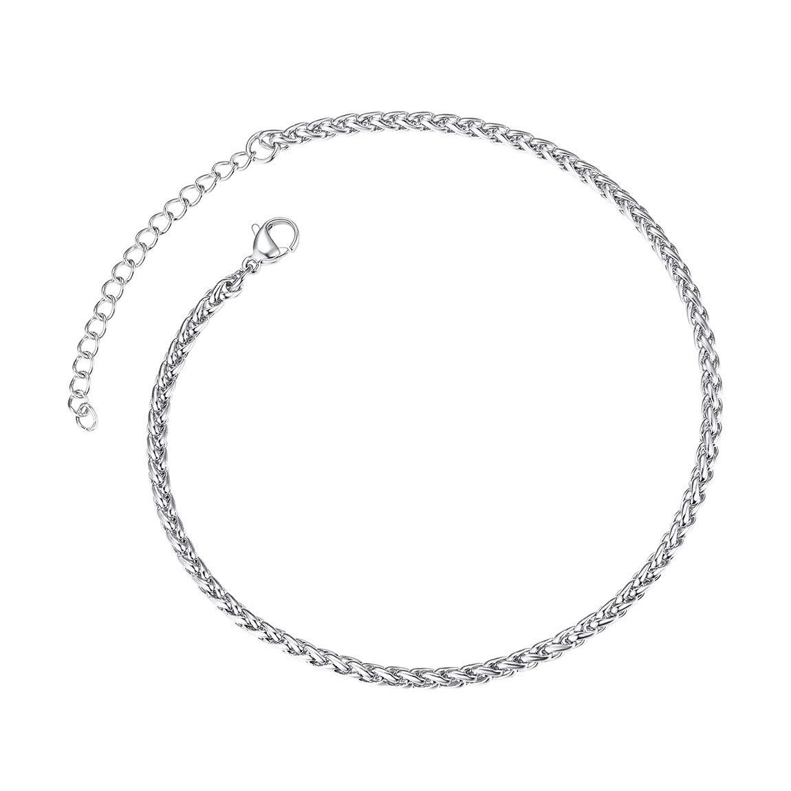 Bo/îte Cadeau ChainsPro Bracelet de Cheville,Cha/îne de Cheville Maille Spiga Bl/é Corde en Acier Inoxydable 316L Ton Argent//Or Bracelet Gourmette Cha/îne R/églable 9+2 23+5cm Bijoux de Plage