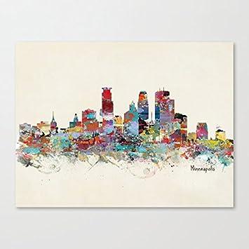 Amazon.com: Minneapolis Minnesota skyline Canvas Wall Art Prints 12 ...