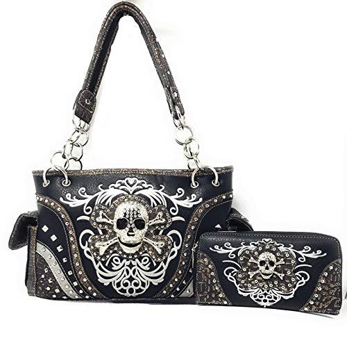 western rhinestone skull concho stitched handbag purse set (black)