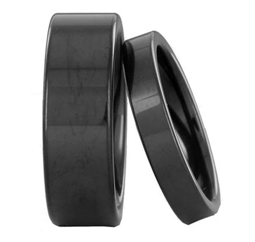 Black Tungsten His & Hers Engagement Wedding Band Ring Sets High Polish Flat Top