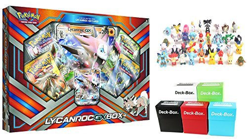 Pokemon Lycanroc GX Box - Free 6 Mini Pokemon Figures & Random Deck (Pokemon Trading Figure Game)