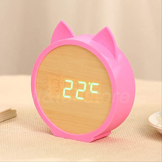 AMZIJ Reloj Despertador Relojes de Madera Reloj para niños Perro ...