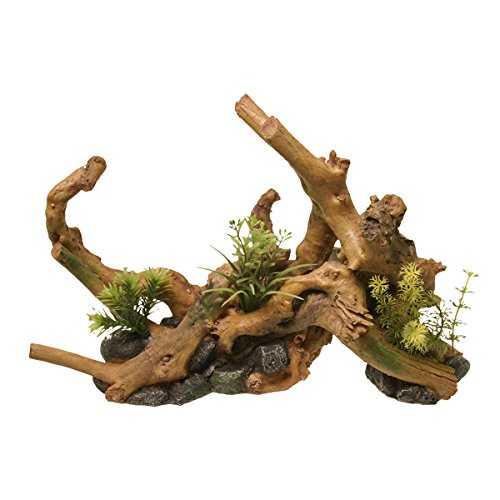 Blue Ribbon EE-638 Exotic Environments Driftwood Centerpiece with Plants Aquarium Ornament