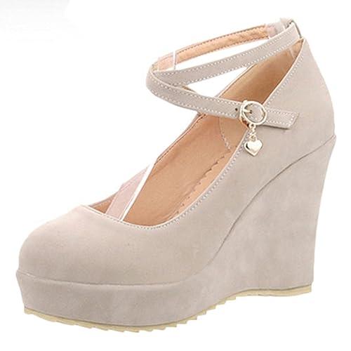 55f3c96272de0 Scothen Femme Pompes Coins Talon compensé Chaussures avec Plateau Classique  Wedges Confortable Chaussures de soirée Princesse