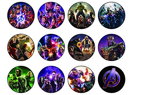 12 x Edible Cupcake Toppers - Avengers movie Themed Collection of Edible Cake Decorations   Uncut Edible Prints on Wafer Sheet
