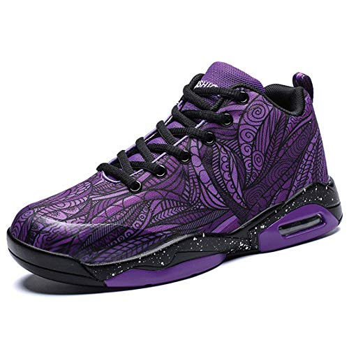 BMTH Men's and Women's Fashion Colorful Shock Absorbing Basketball Shoes Competitive Running Youth Tennis Sneakers Purple