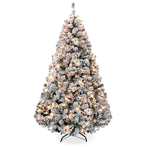 Best Choice Products 7.5ft Pre-Lit Snow Flocked Hinged Artificial Christmas Pine Tree Holiday Decor with 550 Warm White Lights