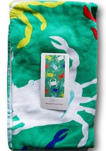 Green Multi-Colored Beach Towel - Crab Marina - 28'' x 60''
