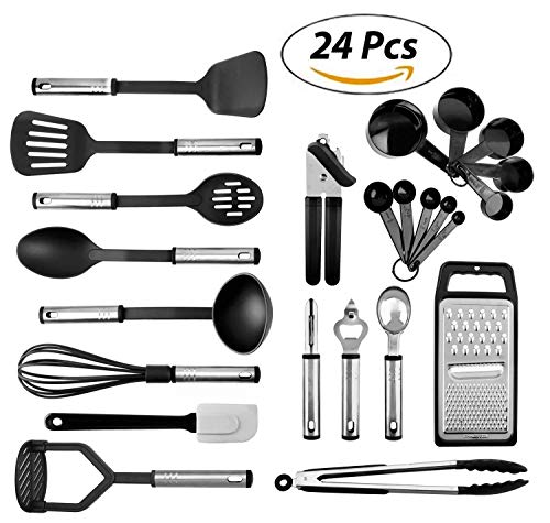 Kitchen Utensils set - 24 Nylon Stainless Steel Cooking Supplies - Non-Stick and Heat Resistant Cookware set - New Chef's Gadget Tools Collection - Best for Pots and Pans - Great Holiday Gift Idea