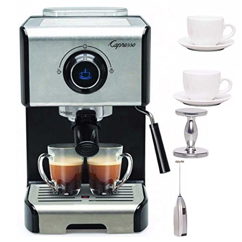 Capresso EC300 Stainless Steel 1200-Watt Espresso Machine + Free Milk Frother, Espresso Tamper and Espresso Ti