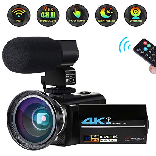 Video Camera 4K Camcorder Ultra HD 48MP Vlogging Camera WiFi Digital Camera IR Night Vision 3.0″ Touch Screen Video Recorder 16X Digital Zoom with External Microphone Wide Angle Lens and 2 Batteries