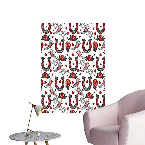 Wall Stickers for Living Room hors Hoe Rose Swallow he Rope Ornamental Tattoo Style Vinyl Wall Stickers Print,20