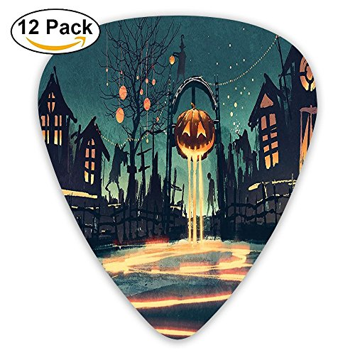 Newfood Ss Halloween Theme Night Pumpkin And Haunted House Ghost Town Artful Guitar Picks 12/Pack Set -