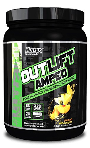 - Nutrex Research Outlift Amped Powder, Peach Pineapple, 15.7 Ounce
