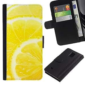Planetar® Modelo colorido cuero carpeta tirón caso cubierta piel Holster Funda protección Para Samsung Galaxy Note 4 IV / SM-N910 ( Fruit Macro Lemon )