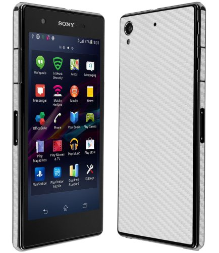 Skinomi TechSkin - Sony Xperia Z1S Screen Protector + Carbon Fiber Silver Full Body Skin / Front & Back Premium HD Clear Film / Ultra Invisible and Anti Bubble Shield