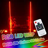 OMUOFFROAD 5FT 20 Color RGB LED Lighted Whip Antenna Whip Safety Flags Pole Bendable For Polaris RZR UTV ATV Sand Dune Buggy Quad Truck Boat (One Whip) (5ft-1Pair)