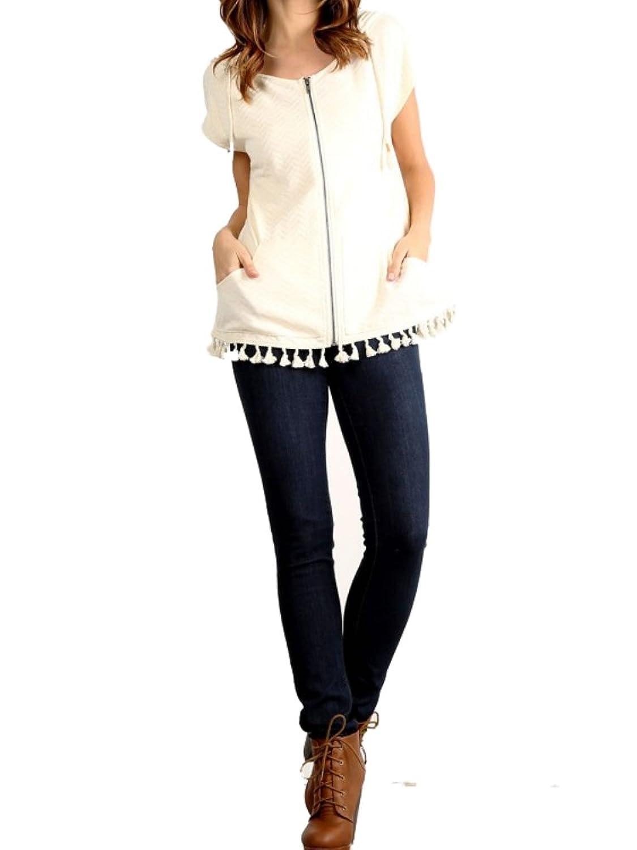 Hem & Thread Women's Fringe Jacket Hooded Ivory