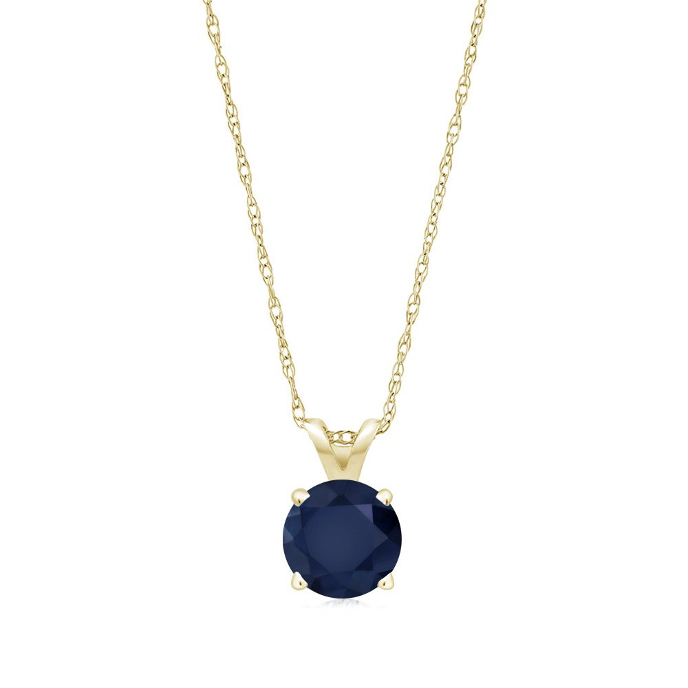 Gem Stone King 14K Yellow Gold Blue Sapphire Pendant Necklace 1.00 Ct Round Gemstone Birthstone With 18 Inch Chain