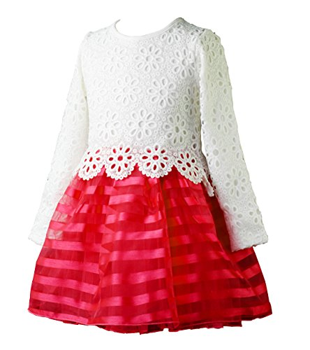 WEONEDREAM Baby Girls' Party Dress with Long Sleeves Striped Crochet Flower Patchwork 2T (100, White Red)