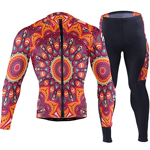 Vintage Arabic Indian Floral Men's Cycling Jersey Set Breathable Quick-Dry MTB Road Bike Luxury Black