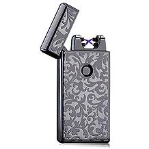 Padgene Electronic Pulse Double Arc Cigarette Lighter USB Rechargeable Windproof Flameless Cigar Lighter No Gas for Men Best Gift