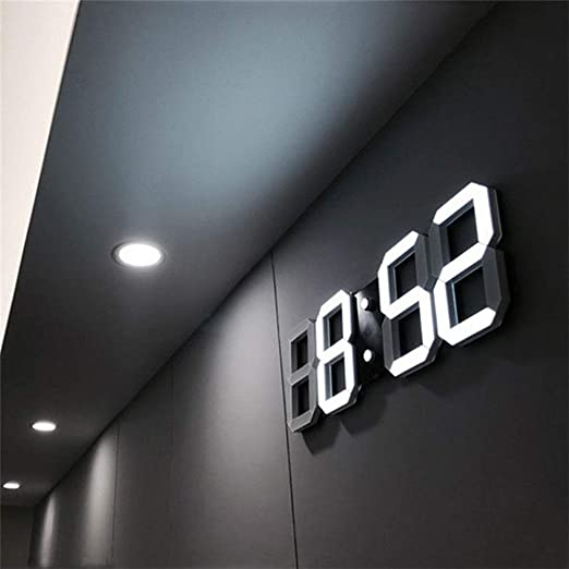 That hereb Luz LED Digital Numbers – Reloj de Pared con 3 Niveles Brillo Snooze electrónica Despertador Pared estéreo Reloj de Pared USB: Amazon.es: Hogar