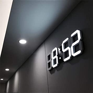 That hereb Luz LED Digital Numbers - Reloj de Pared con 3 Niveles Brillo Snooze electrónica Despertador Pared estéreo Reloj de Pared USB: Amazon.es: ...