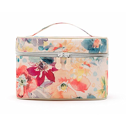 Popular Flora Makeup Bag Travel Portable Cosmetic Organizer Storage Case for Travel and Home (Pink)