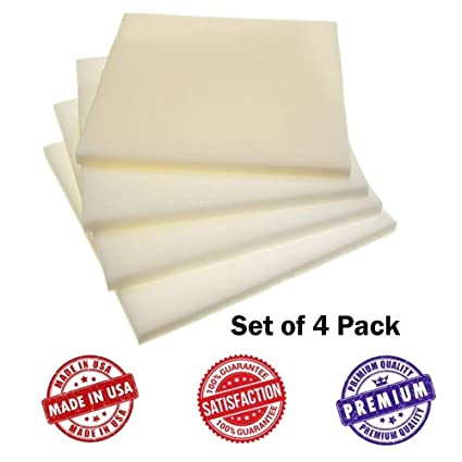 Amazon com: Upholstery Foam Square Seat Cushion Sheets - Four Pack