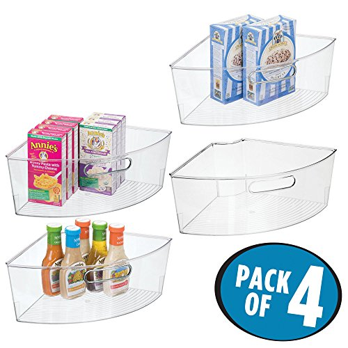 "mDesign Kitchen Cabinet Lazy Susan Storage Organizer Bin with Front Handle - Large Pie-Shaped 1/4 Wedge, 6"" Deep Container - Food Safe, BPA Free - Pack of 4, Clear"