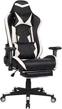 Amazon Com Ergonomic Gaming Chair With Tilt Function Home Office Computer Desk Chair With Lumbar Support And Padded Armrests Pu Leather Exclusive Swivel Chair Furniture Decor
