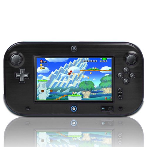 TNP Products Full Body Plastic and Aluminum Snap-on Hard Shell Skin cover for Nintendo Wii U Gamepad Remote Controller, Black