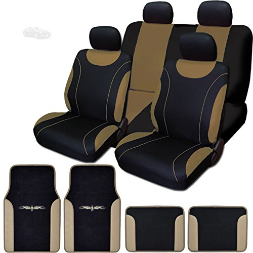 Yupbizauto Universal Szie 12 Pieces Flat Cloth Sleek Design Black and Tan Front and Rear Car Seat Covers Set with Vinyl Trim Floor Mats Full Set - Floor Vinyl Front Cover