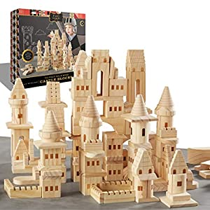 Best Epic Trends 51yfF3hvUoL._SS300_ {150 Piece Set} Wooden Castle Building Blocks Set FAO SCHWARZ Toy Solid Pine Wood Block Playset Kit for Kids, Toddlers…