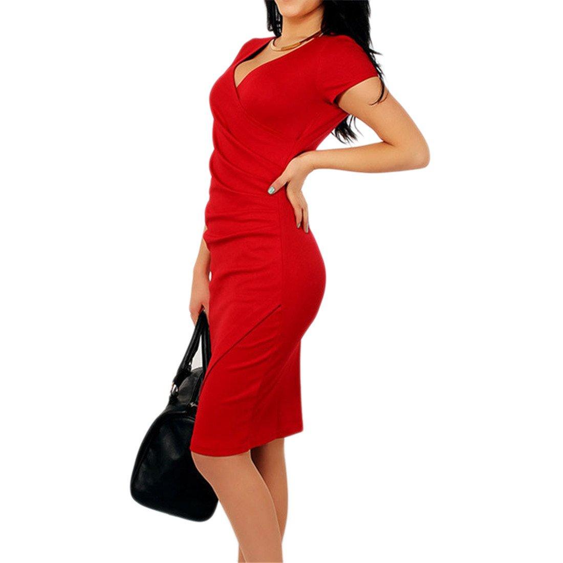 COCO clothing Damen V-Ausschnitt Kurzarm Figurbetontes Normallacks Business Bleistift Kleid Knielang R/üschen Cocktailkleid Frauen Sommer B/üro Etuikleid Midikleid