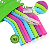 WALFOS Reusable Silicone Smoothie Straws - Extra Long Flexible Straws for 20 & 30 oz Tumblers Yeti/Rtic/Ozark - 10 Pieces (4 Big Bent +4 Slim Bent +2 Cleaning Brushes) - Food Grade & BPA Free