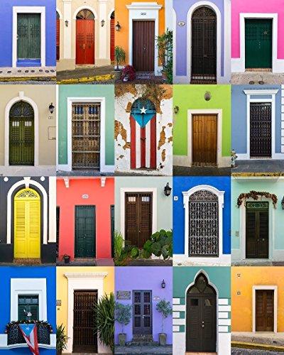 ''Doors of Old San Juan'' Fine Art Print, Puerto Rico, Bright, Colorful, Painted, Puertas, Orange, Green, Blue, Purple - Travel Photography, Print, Wall Art by TheWorldExplored