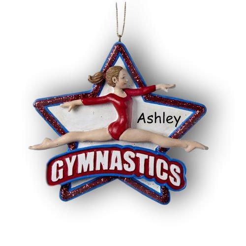 Kurt Adler Personalized Female Brunette Gymnast Athlete for Gymnastics in Red Leotard Uniform Glitter Hanging Christmas Ornament with Custom Name