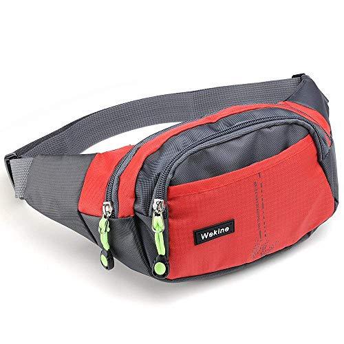 Wekine Lightweight Waist Bag 4 Zipper Pockets, Fanny Pack/Waist Packs Adjustable Belt Strap Runner, Cyclist,Hiking Outdoor Sports. (Red) (Red) ()
