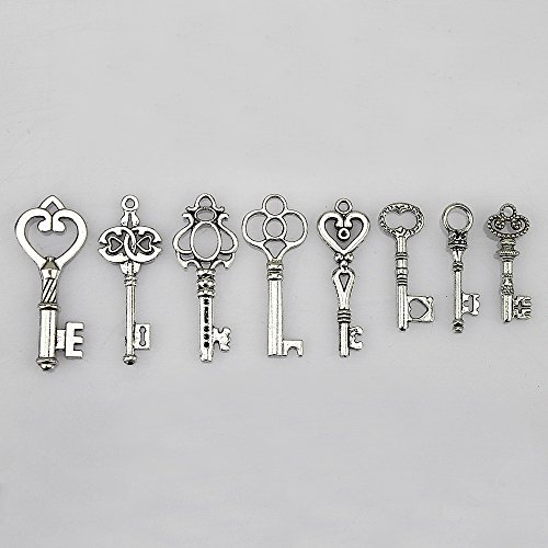 Mini Antiqued Silver Heart - LolliBeads (TM) Antiqued Silver Plated Assorted Key Charm Set Necklace Pendant, Victorian Filigree Heart Royal Key (40 Pcs)