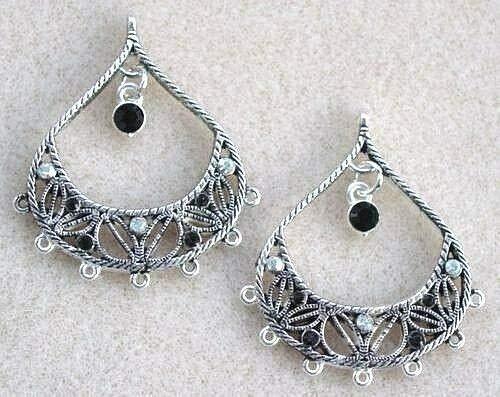 Swarovski Crystal Beads Fancy Earring - Jet Black Diamond Rhinestone Silver Teardrop Chandelier Bead Earring Drops