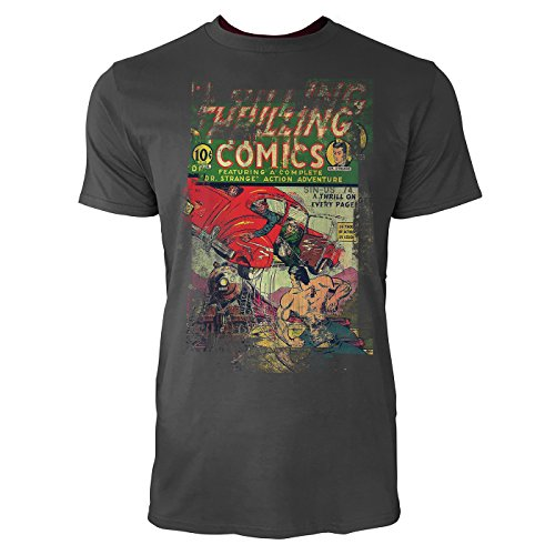 SINUS ART® Thrilling Comics Herren T-Shirts stilvolles rauch graues Fun Shirt mit tollen Aufdruck
