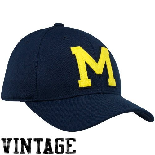adidas Michigan Wolverines Navy Blue Vault Structured Flex Fit Hat (Small/Medium)