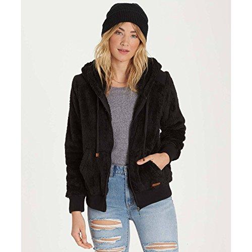 Billabong Black Sweatshirt (Billabong Women's Cozy Down Zip Sweatshirt, Black, S)